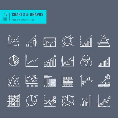 contabilidad: Conjunto de iconos de la web de línea delgada de gráficos y diagramas Vectores