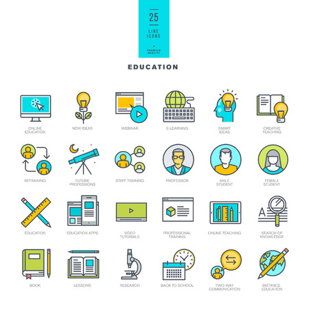 Set of line modern color icons for online education