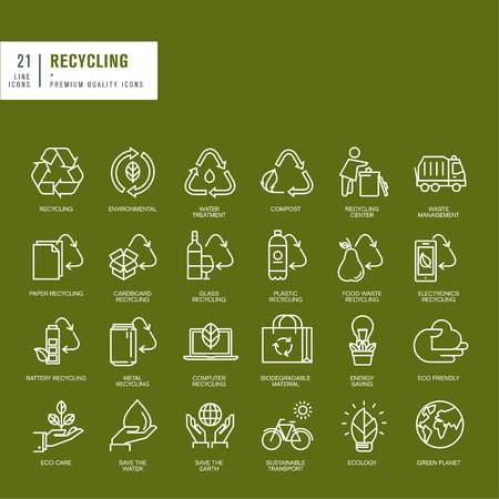 Set of thin line web icons for recycling Çizim