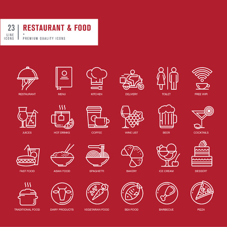 toilet icon: Set of thin line web icons for restaurant and food