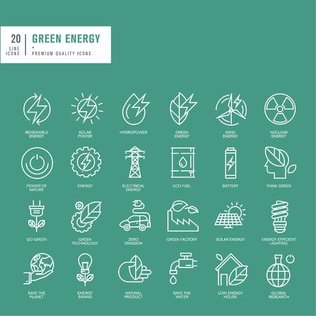 녹색 에너지에 대한 얇은 라인 웹 아이콘 세트 일러스트