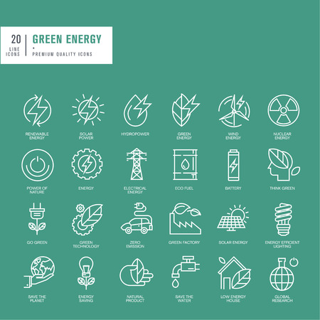 nuclear sign: Set of thin line web icons for green energy