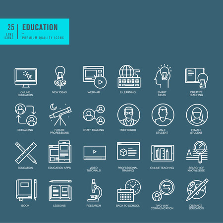 professors: Set of thin line web icons for online education