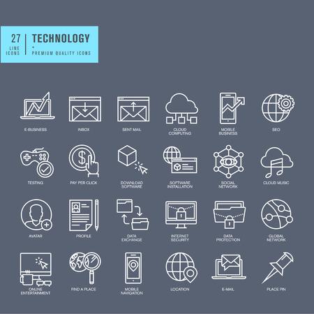 Set van dunne lijn web iconen voor technologie Stock Illustratie