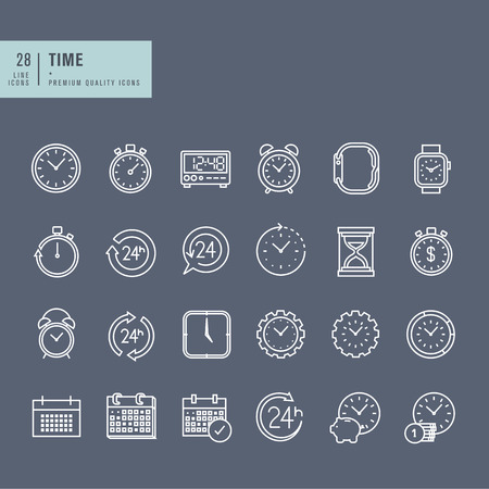 reminder icon: Set of thin line web icons on the theme of time