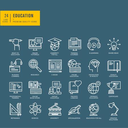 aprendizaje: Conjunto de iconos web line delgados para la educación