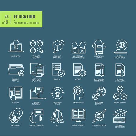 educação: Jogo de ícones da linha fina web sobre o tema da educação