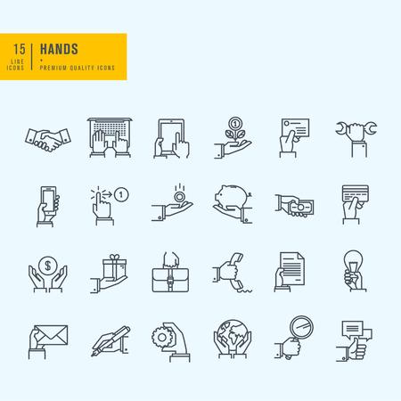 Dünne Linie Symbole gesetzt. Icons von Hand mit Hilfe von Geräten mit dem Geld in Geschäftssituationen Kommunikation. Vektorgrafik