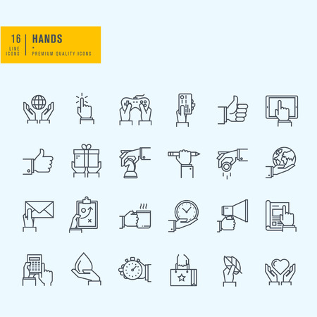 situations: Thin line icons set. Icons of hand using devices using money in business situations in design ecology marketing process. Illustration
