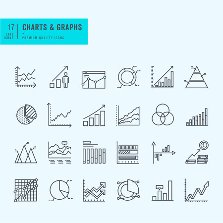 3d icons: Thin line set of charts graphs and diagrams