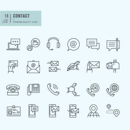 Thin line icons set. Icons for communication. Vectores