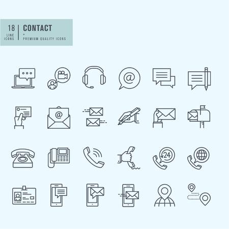 apoyo social: Iconos de línea delgada. Los iconos de la comunicación.
