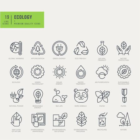 Dunne lijn iconen set. Pictogrammen voor milieu recycling hernieuwbare energie natuur.