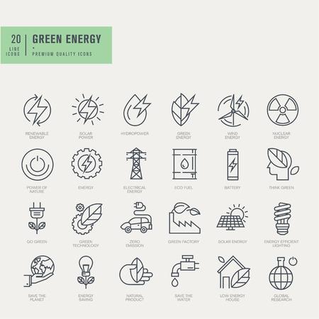Ikony ustaw cienkie linie. Ikony dla odnawialnych źródeł energii zielonej technologii.