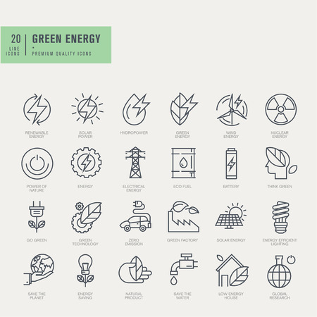 emission: Thin line icons set. Icons for renewable energy green technology.