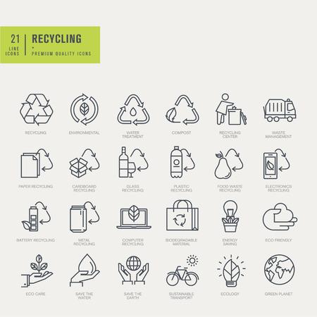 raccolta differenziata: Icone delle linee sottili set. Icone per il riciclaggio ambientale.