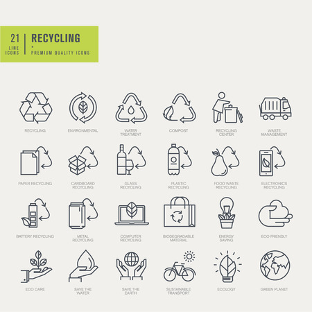 leaf line: Thin line icons set. Icons for recycling environmental.