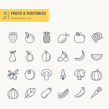 drink food: Thin line icons set. Icons for fruits and vegetables food and drink.