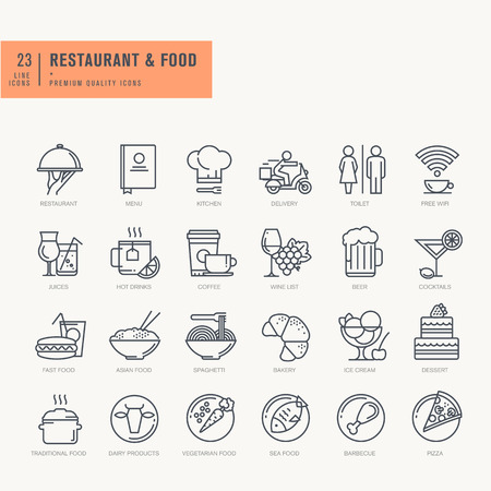 Ícones linha fina definido. Ícones para alimentos e bebidas restaurante café e entrega de comida de bar.