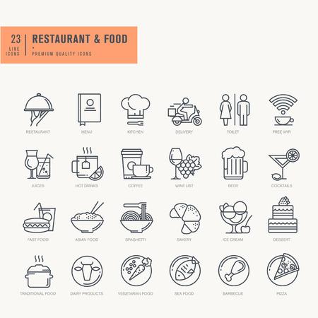 postres: Iconos de línea delgada. Los iconos de los alimentos y la bebida del café del restaurante y la entrega de comida de bar.