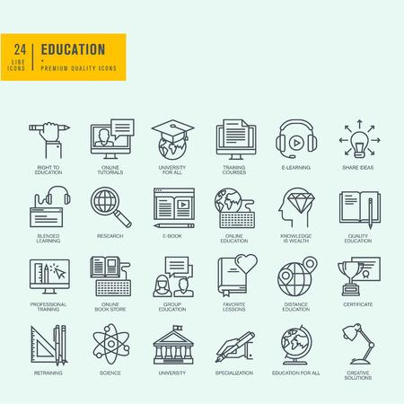 Iconos de línea delgada. Los iconos de tutoriales en línea cursos de formación de educación en línea en línea universidad tienda de libros. Ilustración de vector