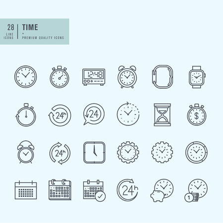 conjunto: Iconos de línea delgada. Los iconos de hora y fecha.