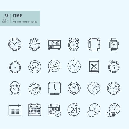 Ikony ustaw cienkie linie. Ikony dla daty i czasu. Ilustracje wektorowe