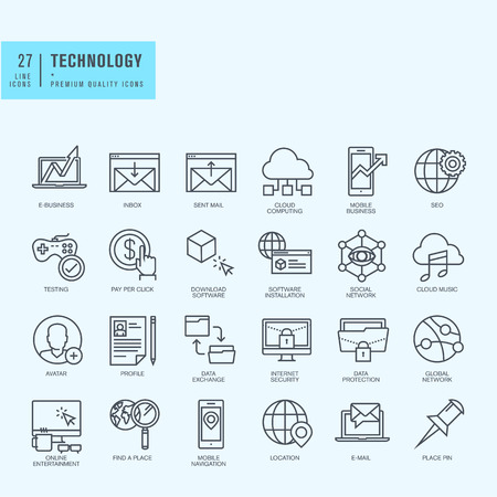 medios de comunicaci�n social: Iconos de l�nea delgada. Iconos para las finanzas de tecnolog�a de comercio electr�nico de navegaci�n entretenimiento cloud computing de protecci�n de Internet en l�nea de aplicaciones comerciales de los medios sociales.