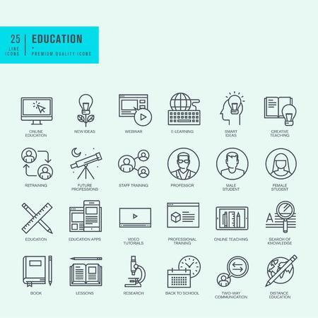 vzdělání: Řádek ikon Tenké set. Ikony pro on-line vzdělávání video tutoriály školení.