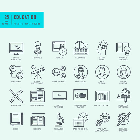 knowledge: Thin line icons set. Icons for online education video tutorials training courses.