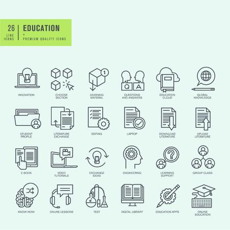 conocimientos: Iconos de l�nea delgada. Iconos para la educaci�n en l�nea aplicaci�n educaci�n ebook.