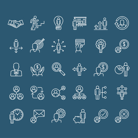 skinny: Set of thin line business people icons