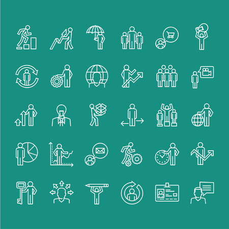 Set of business thin line people icons Stock Illustratie