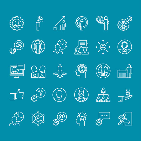 Set of thin line people icons for business