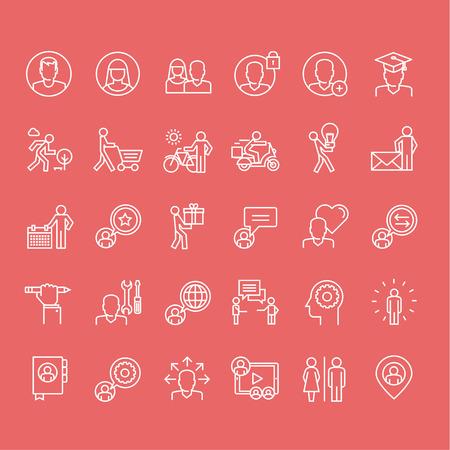 fila de personas: Conjunto de personas delgadas l�neas de iconos Vectores