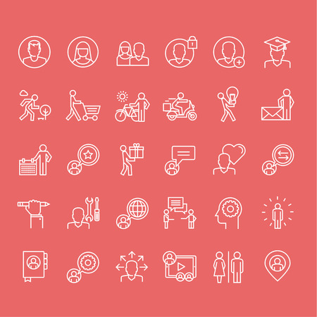 fila di persone: Set di sottili linee persone icone