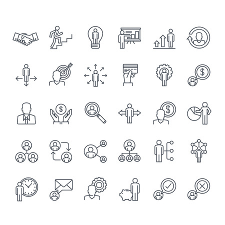 Thin line icons set. Icons for business, management, finance, strategy, planning, analytics, banking, communication, social network, affiliate marketing.