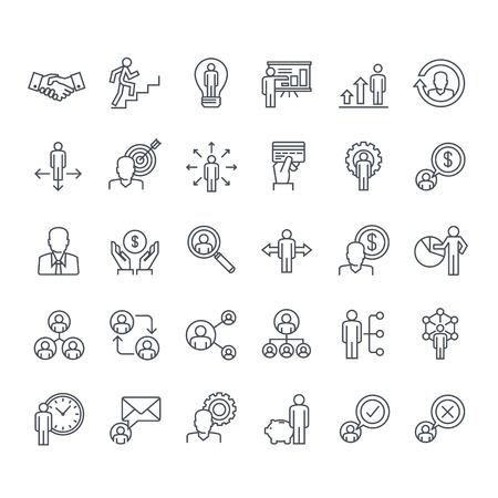 D'icônes de lignes minces fixés. Icônes pour les entreprises, de la gestion, des finances, de la stratégie, de la planification, de l'analyse, de la banque, de la communication, réseau social, le marketing d'affiliation. Banque d'images - 42082780