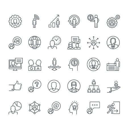 Dunne lijn iconen set. Pictogrammen voor zaken, financiën, sociaal netwerk, events, communicatie, technologie.