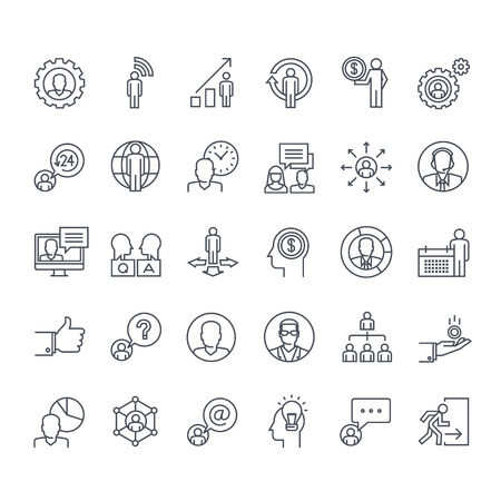 fila de personas: Iconos de línea delgada. Iconos para los negocios, las finanzas, la red social, eventos, comunicación, tecnología.