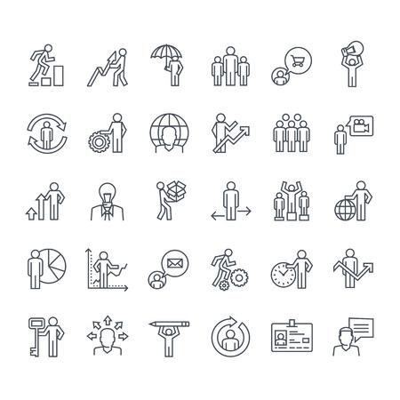 Dünne Linie Symbole gesetzt. Symbole für Business, Versicherung, Strategie, Planung, Analyse, Kommunikation.