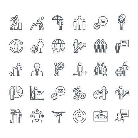 people in line: Thin line icons set. Icons for business, insurance, strategy, planning, analytics, communication.