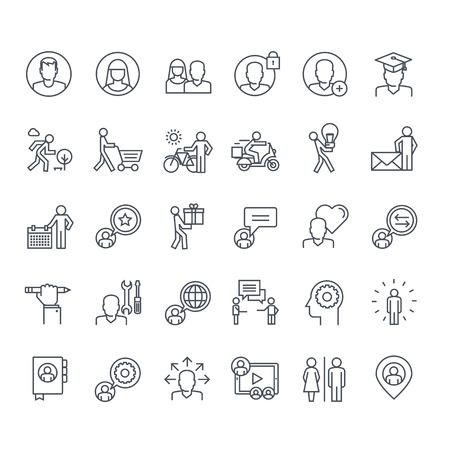 hombre flaco: Iconos de línea delgada. Los iconos de los medios sociales, marketing, compras en línea, comunicación, red social, educación, eventos, contactos, servicios.