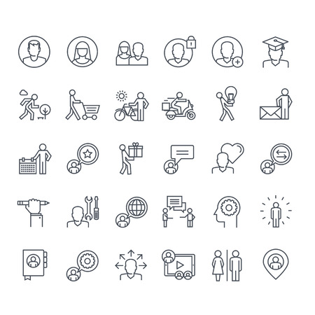 people in line: Thin line icons set. Icons for social media, marketing, online shopping, communication, social network, education, events, contact, service.