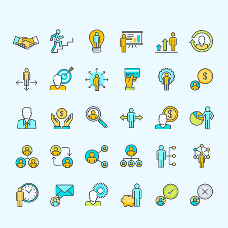 profil: Zestaw kolorowych ikon dla linii ludzi biznesu i finansów Ilustracja