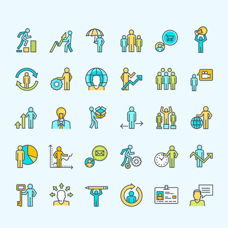 Set of line color business people icons