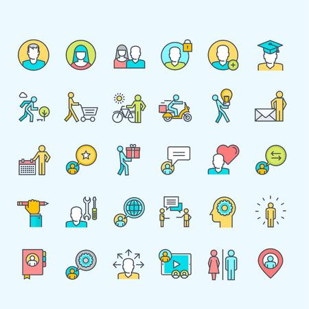 thin man: Conjunto de color de l�nea Iconos de la gente Vectores