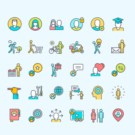 Set of line color people icons Stock Illustratie