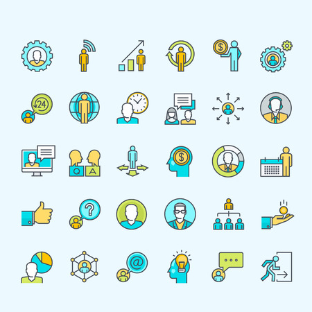 referral marketing: Set of line color people icons for business Illustration