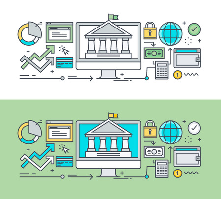 finance icons: Thin line flat design concept of e-banking. Concept for website banners and promotional materials.